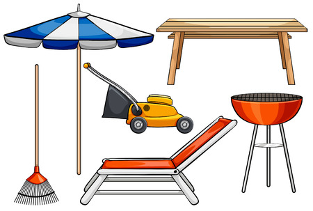 Different objects used for outdoor purposes Vector