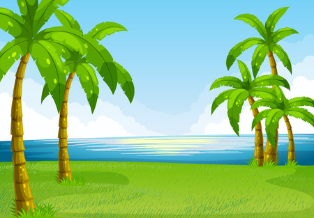 cartoon land: Ocean view with coconut trees