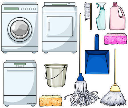 cartoon washing: Different cleaning objects and machines Illustration