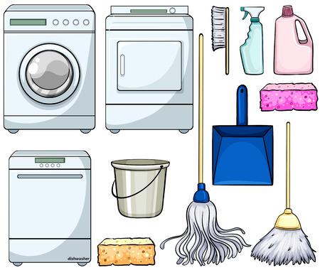 Verschillende reinigen voorwerpen en machines