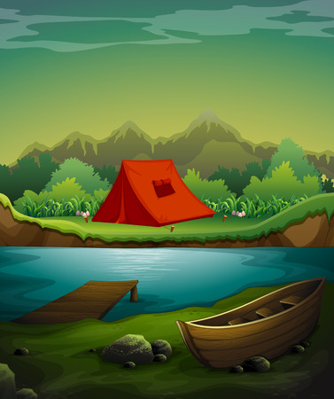 row boat: Camp out by the river with nature view