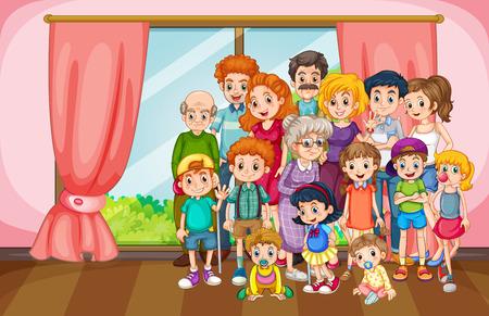 Gezinshereniging bijeenkomst in het huis Stock Illustratie