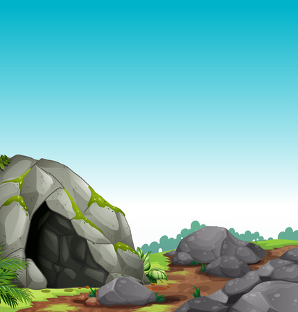 Scene of cave and stones Vector