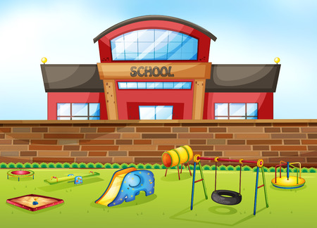 outside outdoor outdoors exterior: School building and playground area Illustration