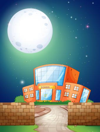 night school: School scene at night with fullmoon Illustration