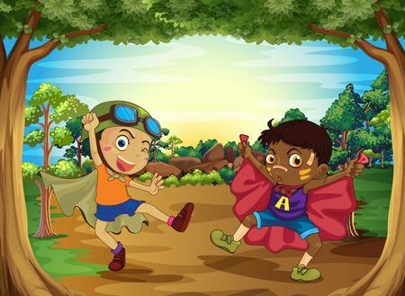Kinderen spelen in het bos in de schemering
