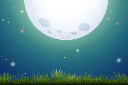 Bright fullmoon scene with grass field Vector