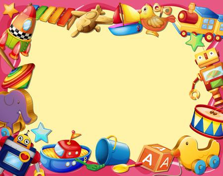 juguetes de madera: Banner con muchos tipos de juguetes Vectores