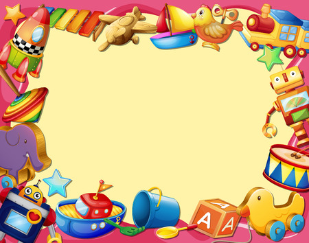 animal frame: Banner with many types of toys