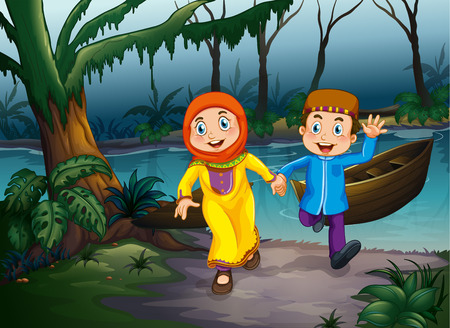 couple holding hands: Muslim couple holding hands in the forest Illustration