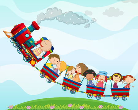 Boys and girls riding on tain Vector