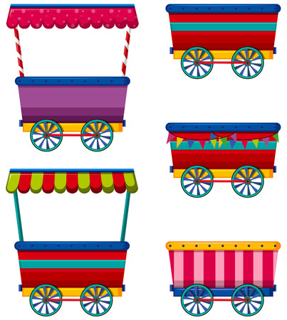 food products: Different designs of carts and vendors Illustration