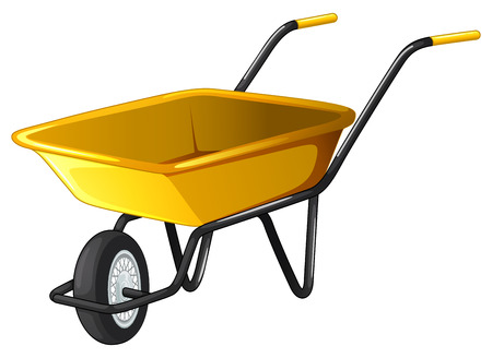 wheel barrow: Close up yellow wheel barrow Illustration