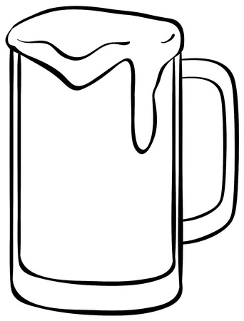 simple line drawing: Single glass of cold beer with foam