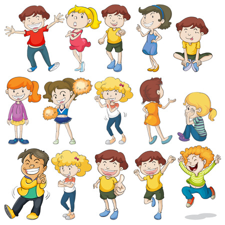 Many children doing different actions Vector
