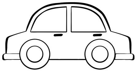 car drawing: Close up classic small car Illustration