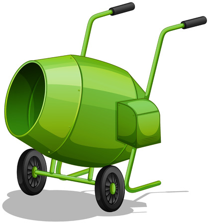 handles: Close up green cement mixer with handles