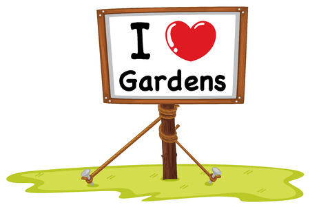 I love gardens banner with wooden frame Vector
