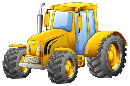 yellow tractor: Close up cl�sico tractor amarillo Vectores