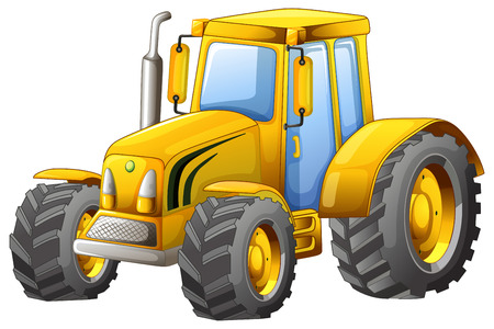 Close up classic yellow tractor Illustration