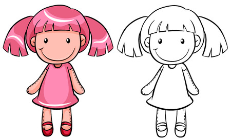 Girl doll with pink hair Ilustrace