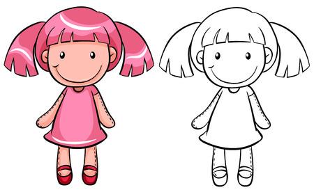 Muñeca de la muchacha con el pelo rosado