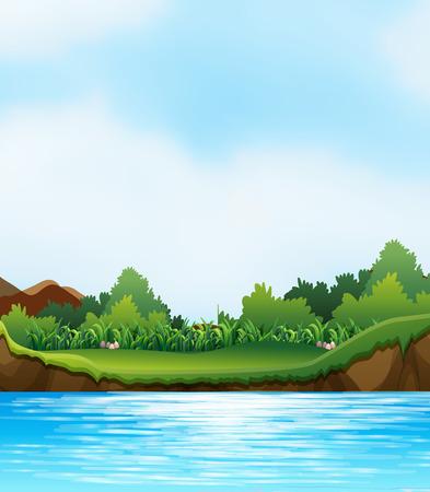 Scène met rivier en oever van de rivier