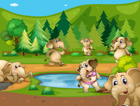 cartoon animal: Elephants around the small pond Illustration