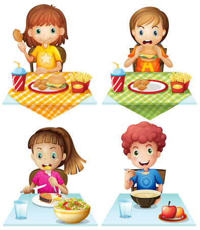 dinner food: Ni�os que comen comida en la mesa de comedor