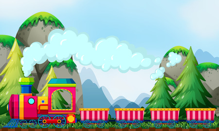 stars cartoon: Train ride at daytime by the mountains