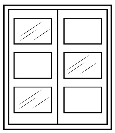 cartoon window: Close up window in simple design Illustration