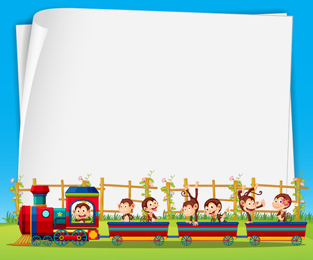 clipart chimney: Banner with monkeys riding on the train background