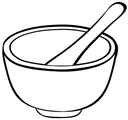 Close up mortar with bowl and spoon