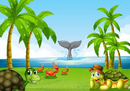 tortuga caricatura: Escena del oc�ano con muchos animales marinos