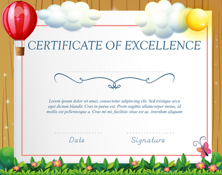 wording: Certificate template with balloon background Illustration