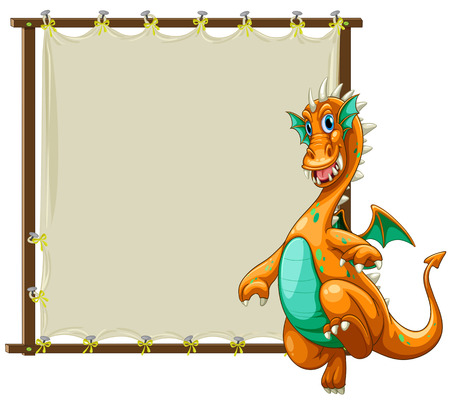 fantacy: Dragon standing next to the wooden frame