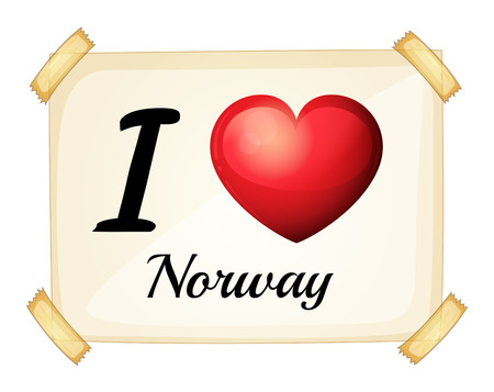 posted: Poster I love Norway posted on the wall Illustration