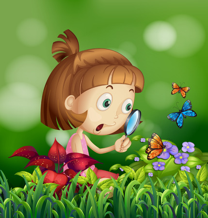 Girl looking at the butterflies on the flower Vector