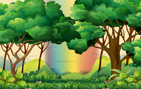 forest clipart: Forest scene with rainbow background