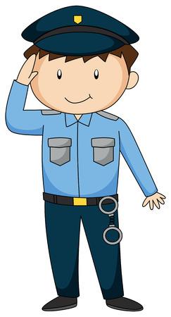 Close up Polizisten in Uniform Illustration