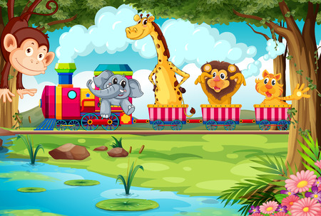 cartoon animal: Many animals riding on a train Illustration