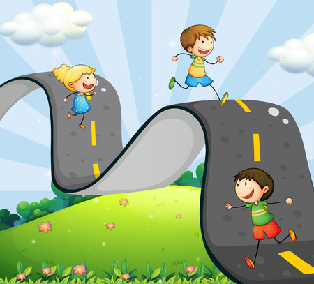 curve road: Children running along the curve road