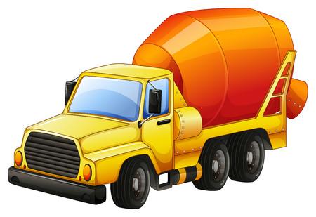 Close up camion de ciment jaune