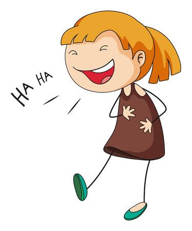 Close up fille avec le visage heureux rire Vecteurs