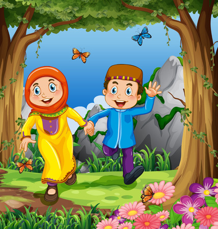 islamic scenery: Man and woman muslims holding hands in the jungle Illustration