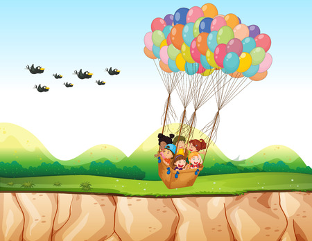 young animal: Children riding in a balloon over the cliff