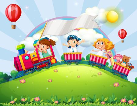 children: Дети верхом на поезде в парке