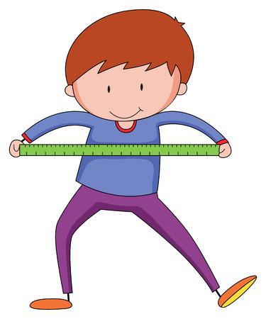 Boy using ruler to measure something 일러스트