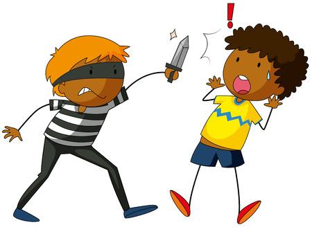 피해자를 공격하는 칼을 든 도둑