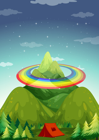 campsite: Campsite with the mountain and rainbow background